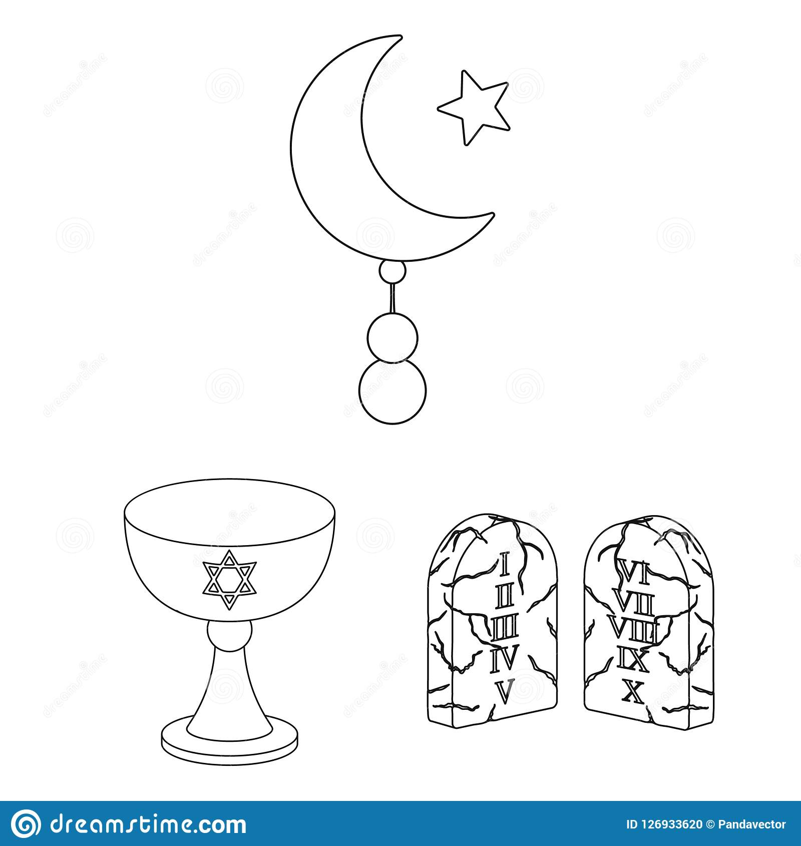 La religión y la creencia resumen iconos en la colección del sistema para el diseño Accesorios, ejemplo del web de la acción del