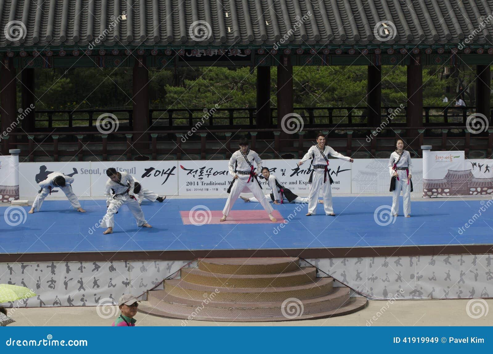 La représentation d art martial et l événement coréens traditionnels d expérience montrent