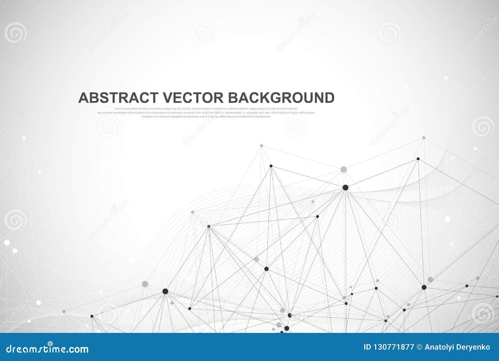 La rete collega il concetto astratto della tecnologia Collegamenti di rete globale con i punti e le linee