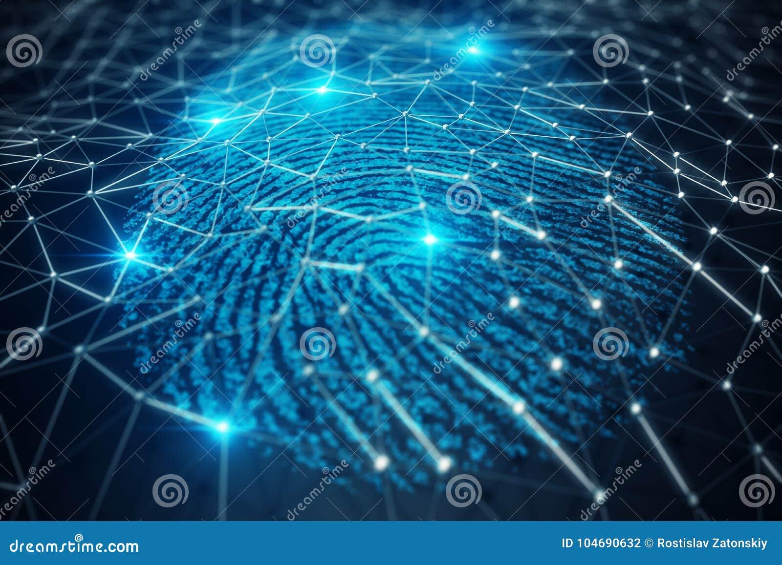 La ricerca dell impronta digitale dell illustrazione 3D consente l accesso di sicurezza l identificazione della biometria Protezi