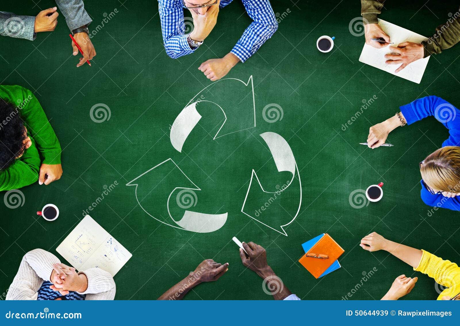 La riutilizzazione ricicla l ambiente dell ecologia va concetto verde di riunione