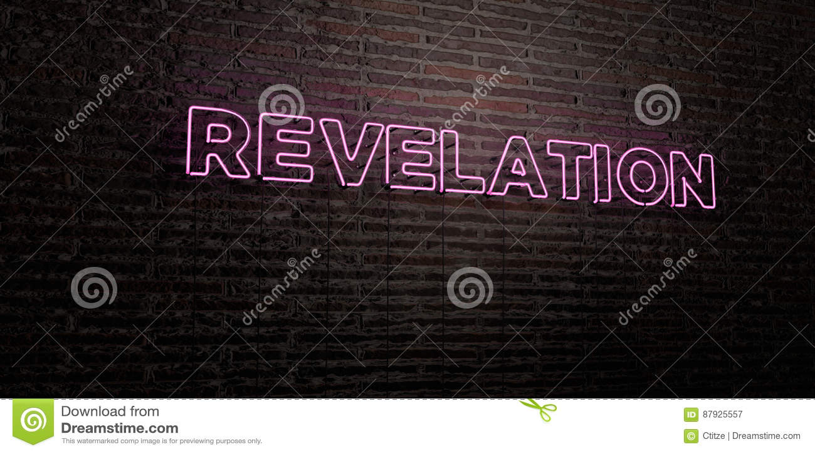 La RIVELAZIONE - insegna al neon realistica sul fondo del muro di mattoni - 3D ha reso l immagine di riserva libera della sovrani