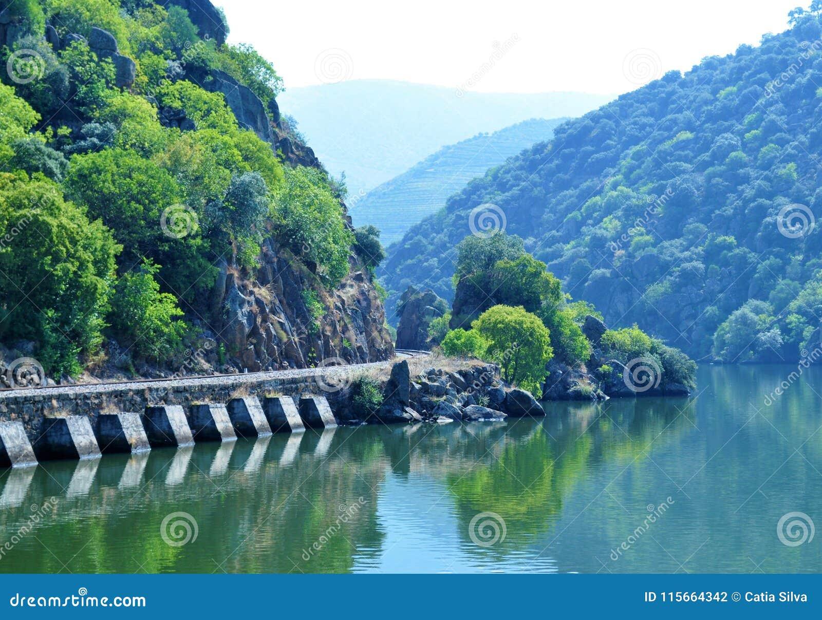 La rivière et le vieux train rayent - la rivière de Douro