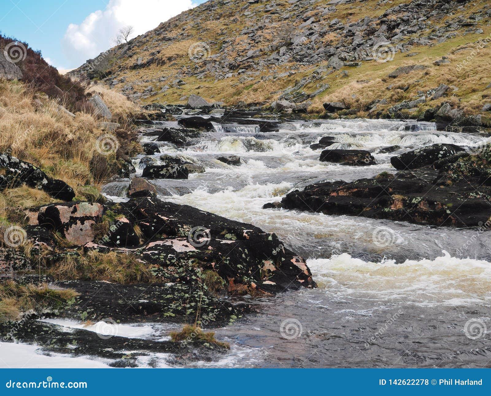 La rivière Tavy cascadant au-dessus des roches par le Tavy se fendent, parc national de Dartmoor, Devon, R-U