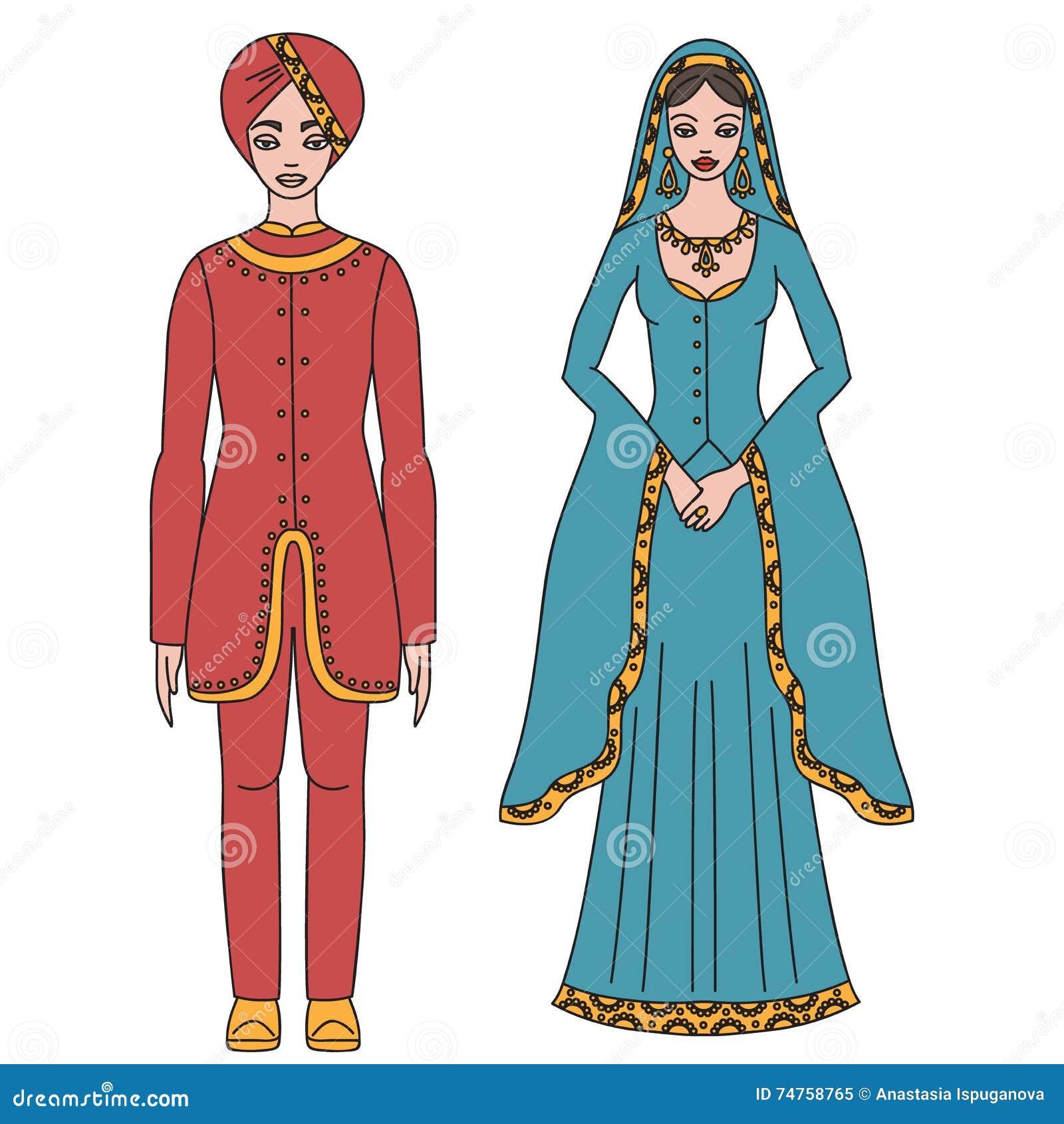 La ropa turca tradicional, el paño nacional de Oriente Medio, el hombre y el traje aislado, turco del sultán de la mujer se viste