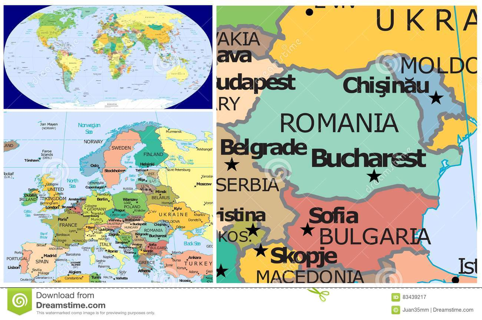 Carte Roumanie Bulgarie.La Roumanie Moldau Bulgarie Et Monde Illustration Stock