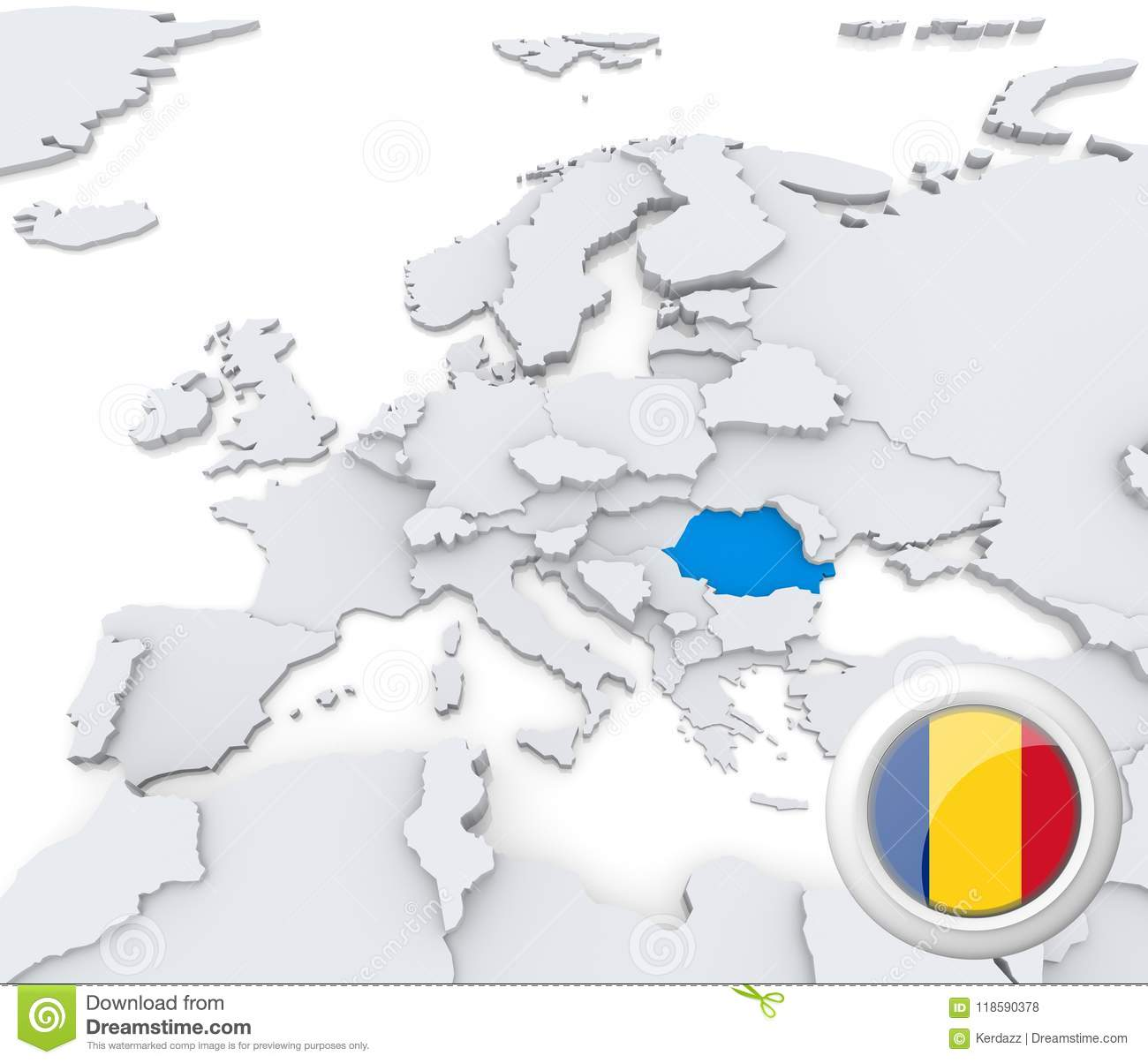 Carte De Leurope Roumanie.La Roumanie Sur La Carte De L Europe Illustration Stock