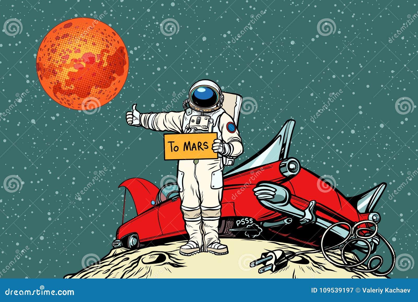 la route mars voiture d compos e dans l 39 espace auto stoppeur d 39 astronaute illustration de. Black Bedroom Furniture Sets. Home Design Ideas
