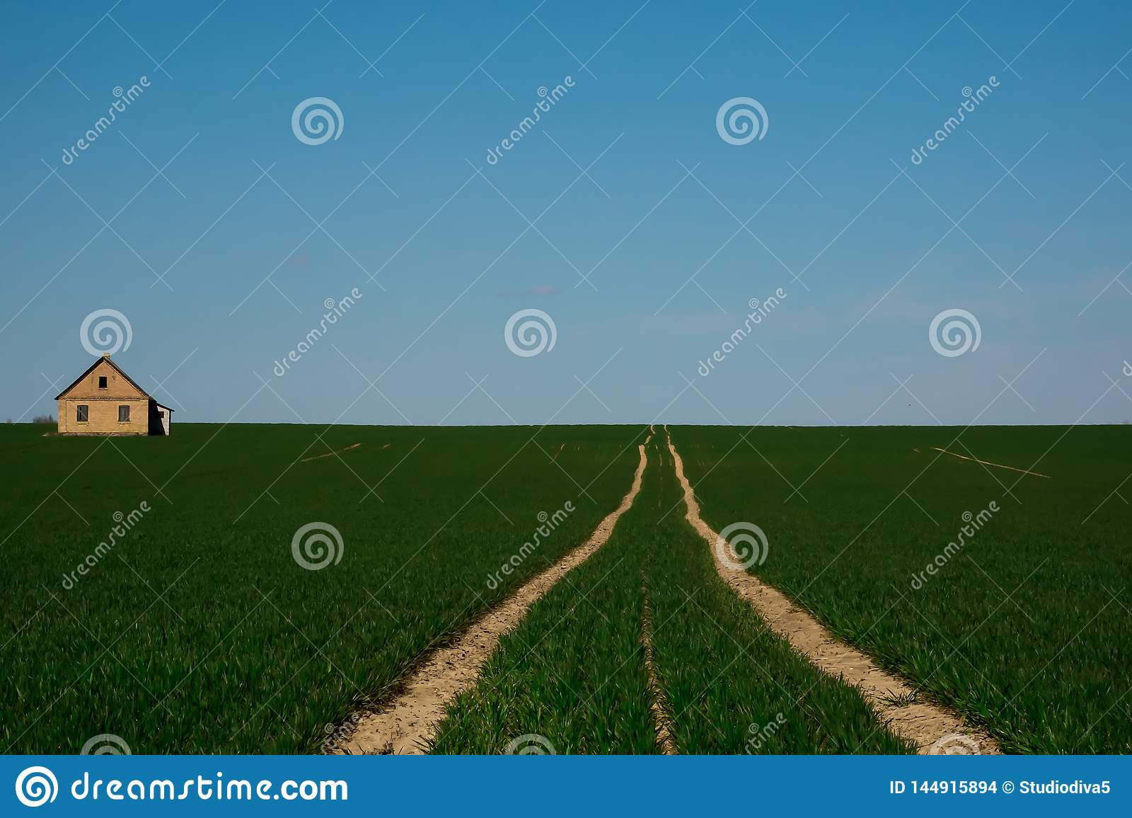 La route à une maison isolée au milieu d un champ vert