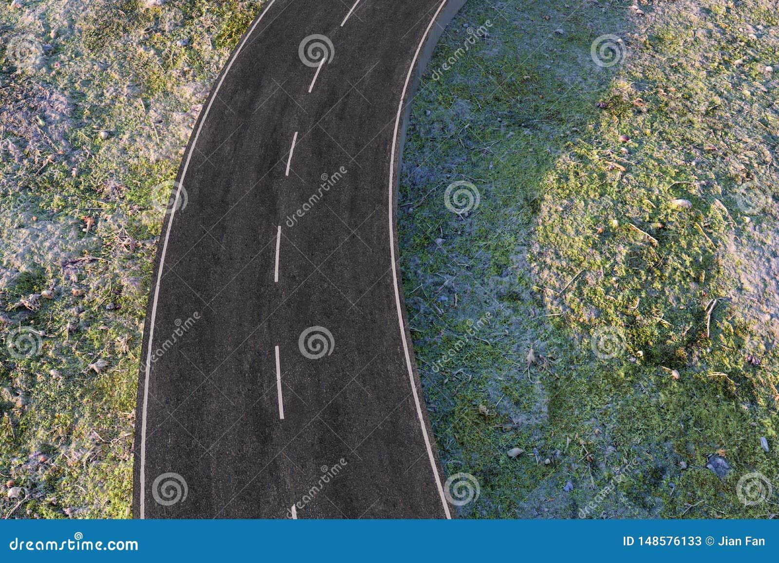 La route de ondulation dans les banlieues abandonn?es, rendu 3d