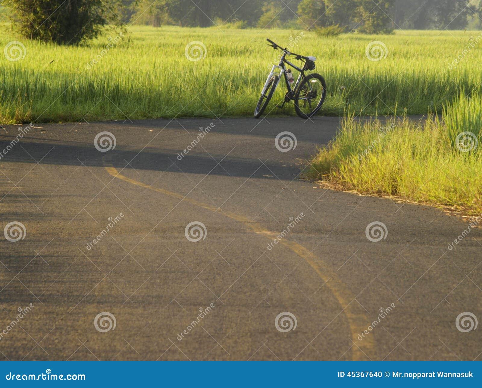 La route met en place le lever de soleil