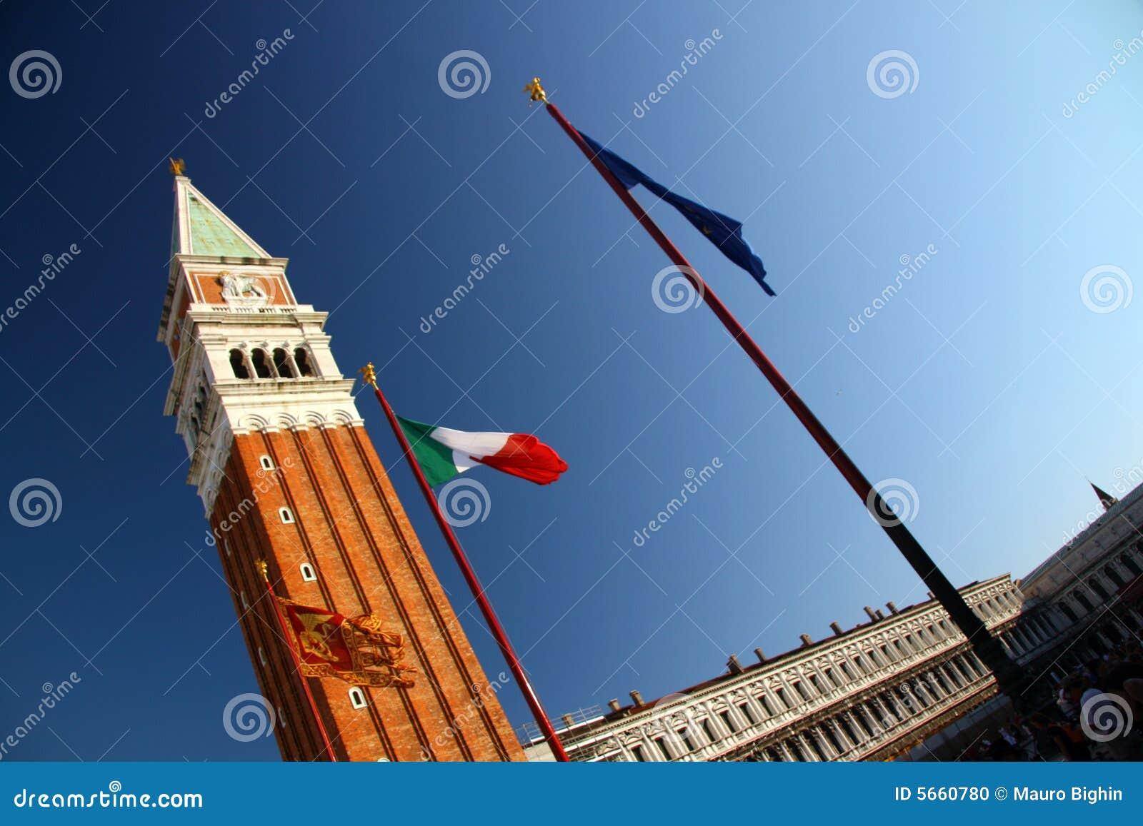 La rue marquent la tour carrée, Venise
