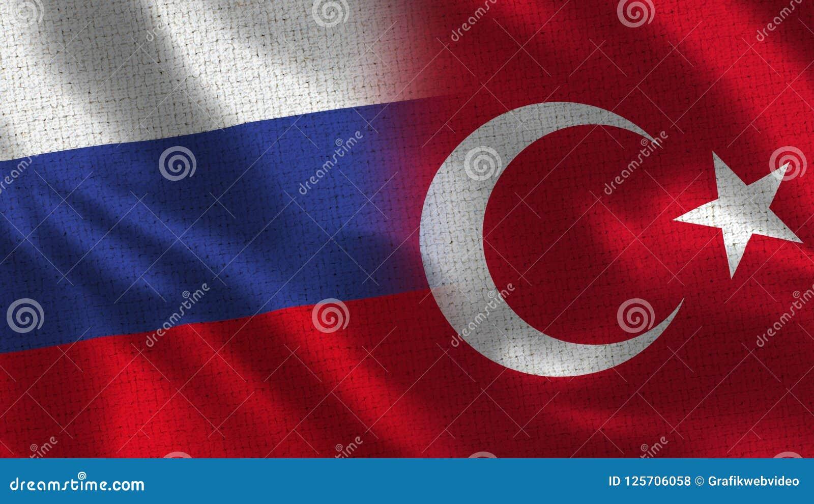 La Russia e Turchia - bandiera due insieme - struttura del tessuto