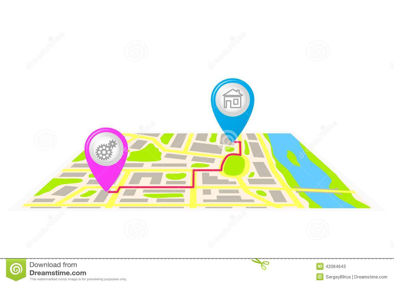 La Ruta En El Mapa De La Ciudad Ilustracion Del Vector