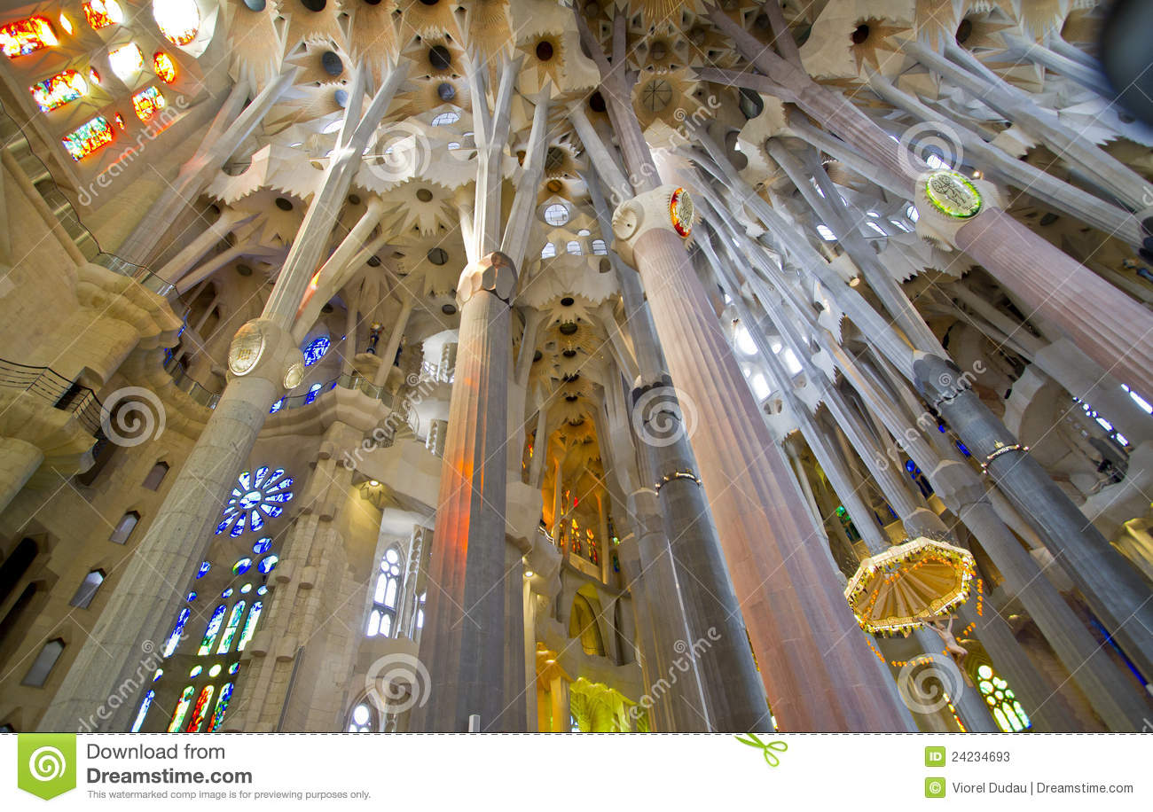 La Sagrada Familia Interior Editorial Stock Photo Image of rise
