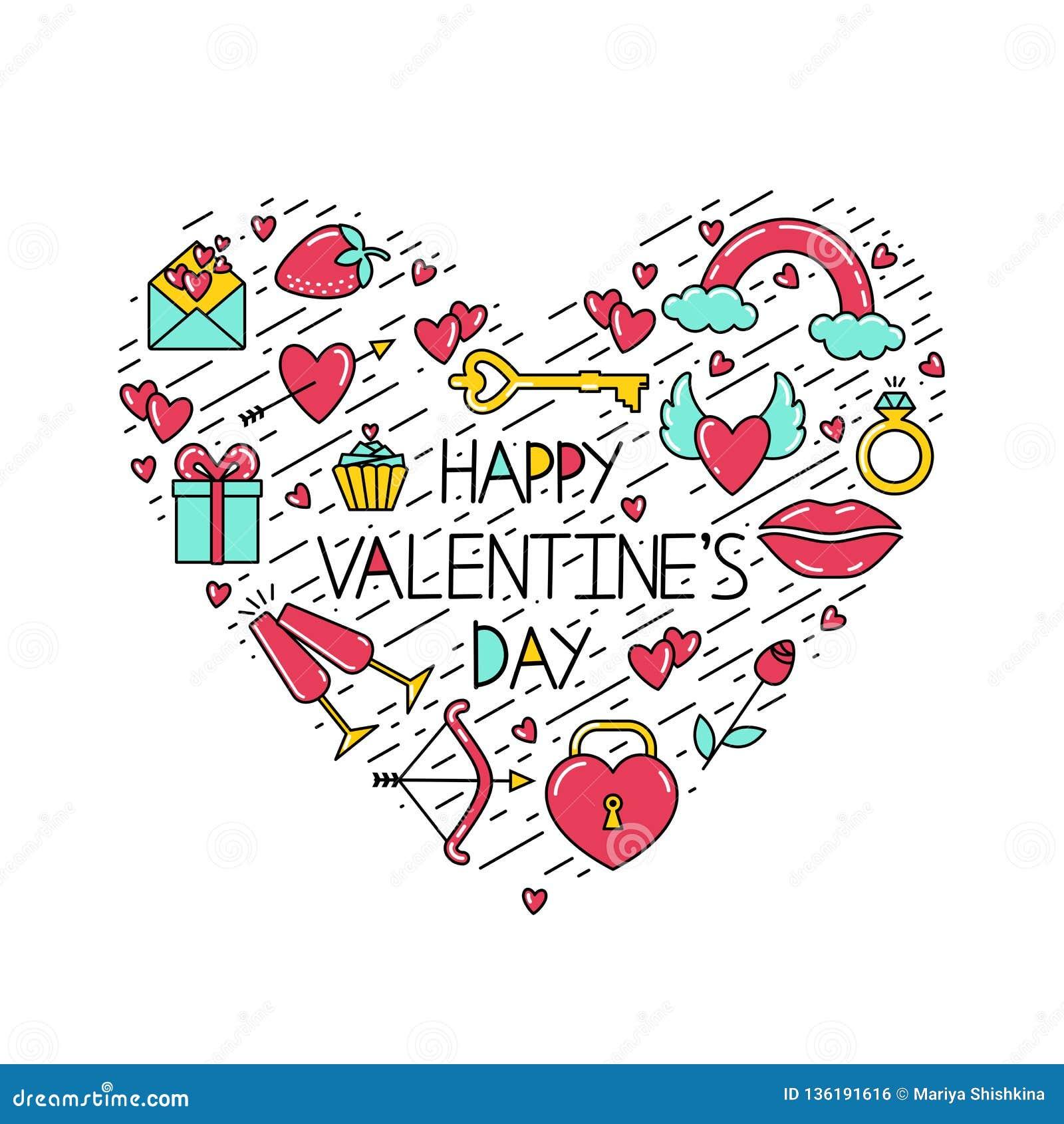 La Saint-Valentin heureuse d inscription avec des symboles et des lignes noires disposés sous forme de coeur