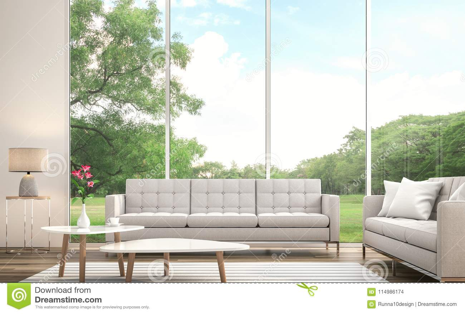La Sala De Estar Blanca Moderna 3d Rinde Hay Ventana Grande Pasa Por ...