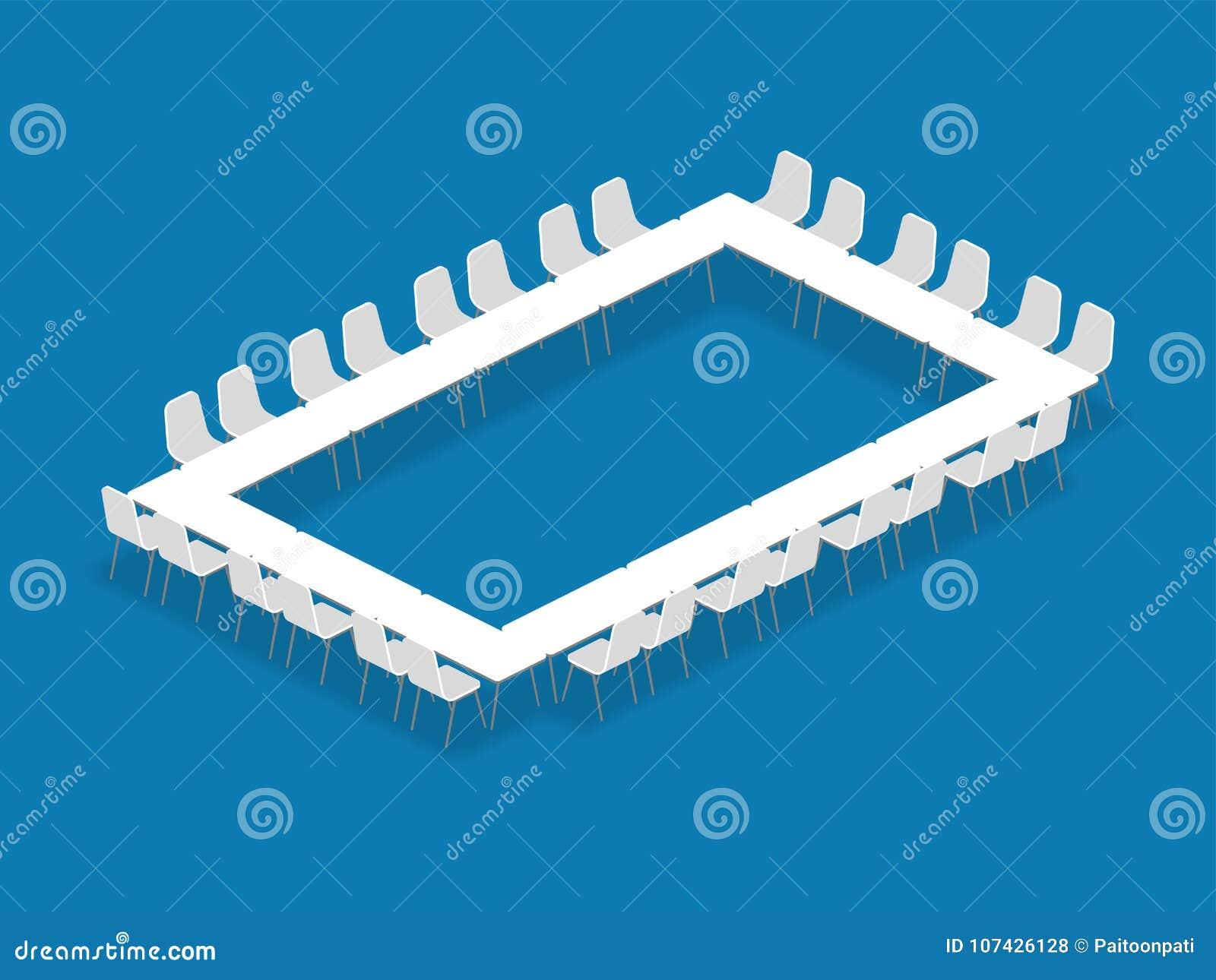 La sala de reunión puso el cuadrado del hueco de la configuración de la disposición isométrico
