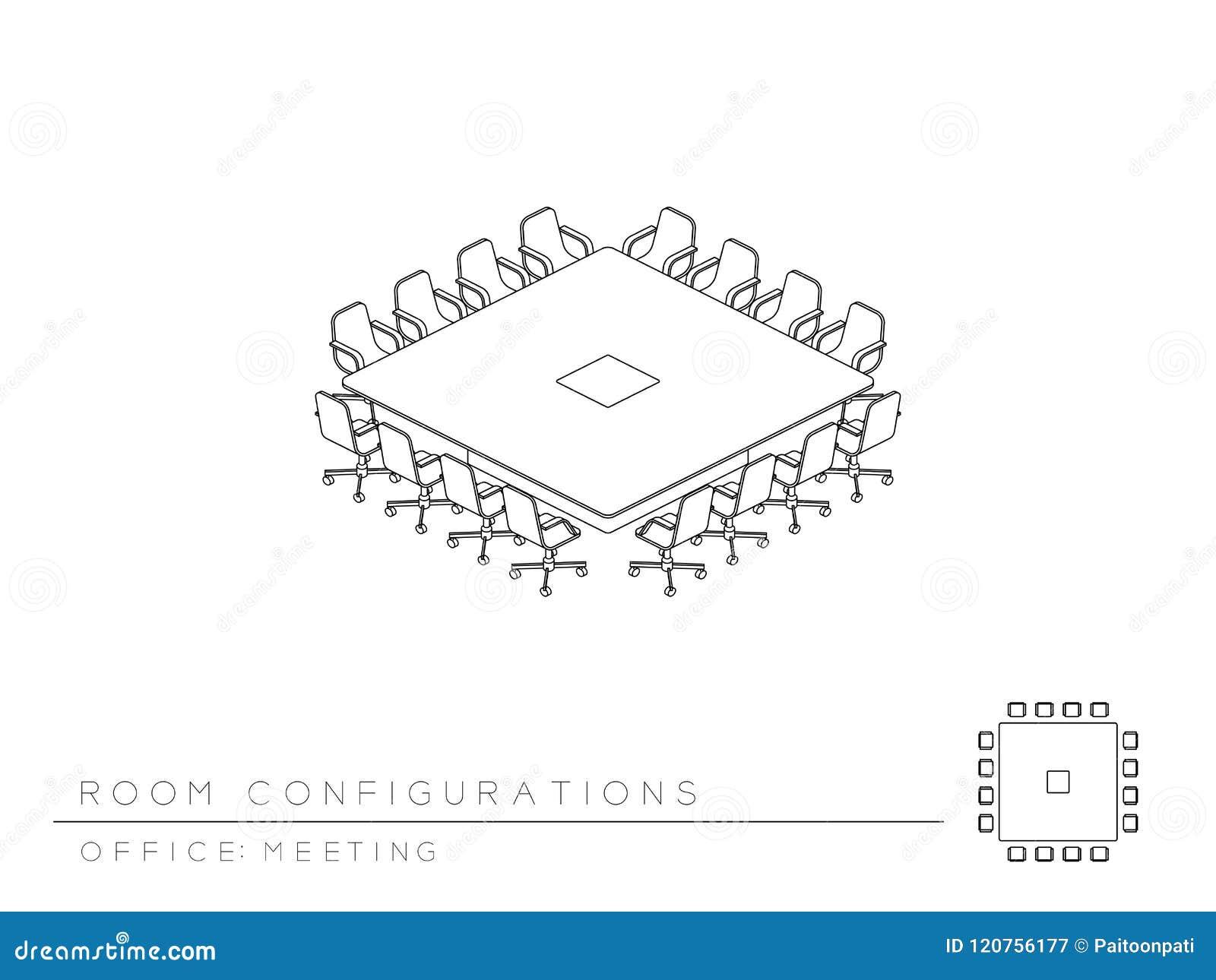 La sala de reunión puso el estilo de la sala de reunión del cuadrado de la conferencia de la configuración de la disposición, per
