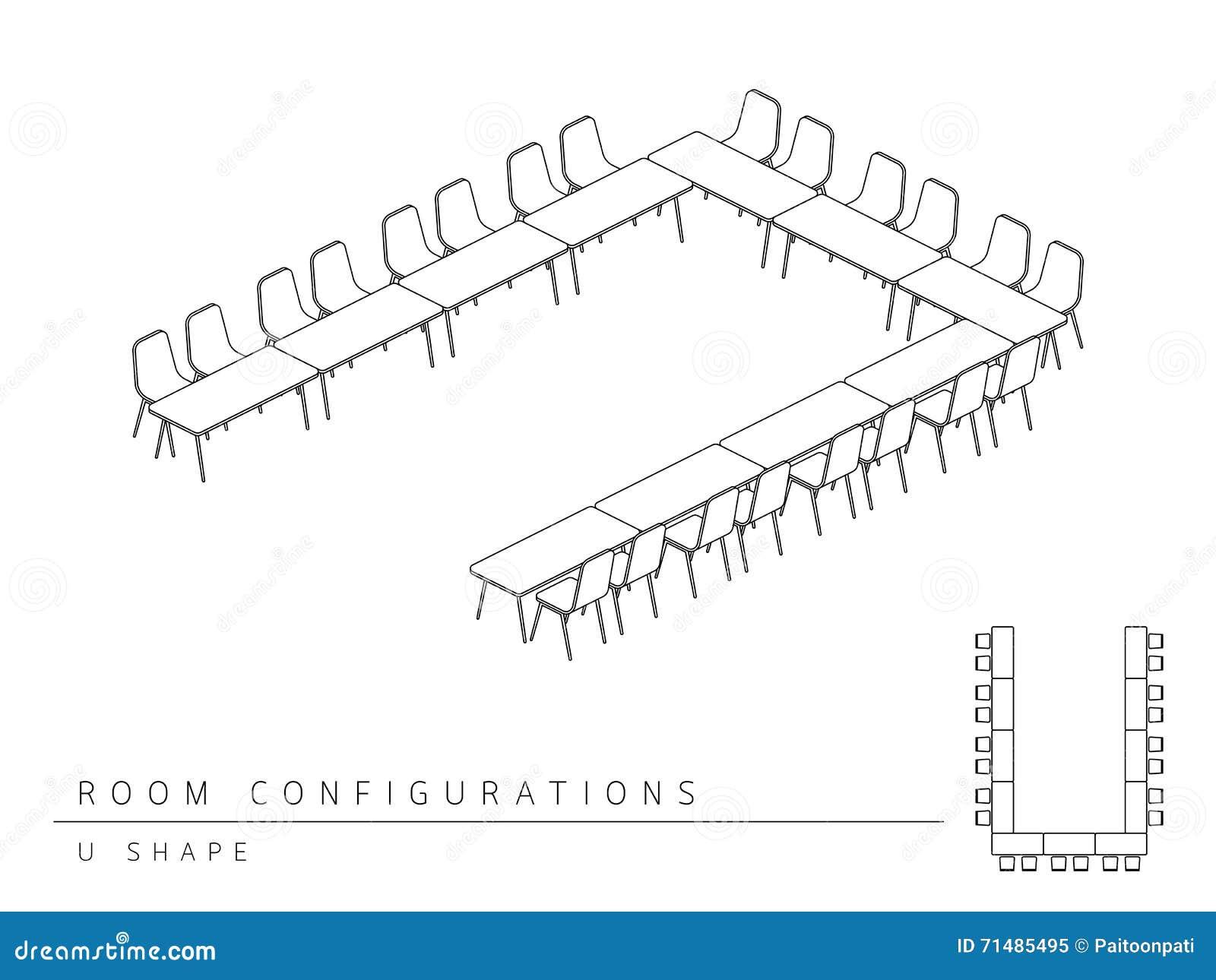 La sala de reunión puso estilo de la forma de la configuración U de la disposición
