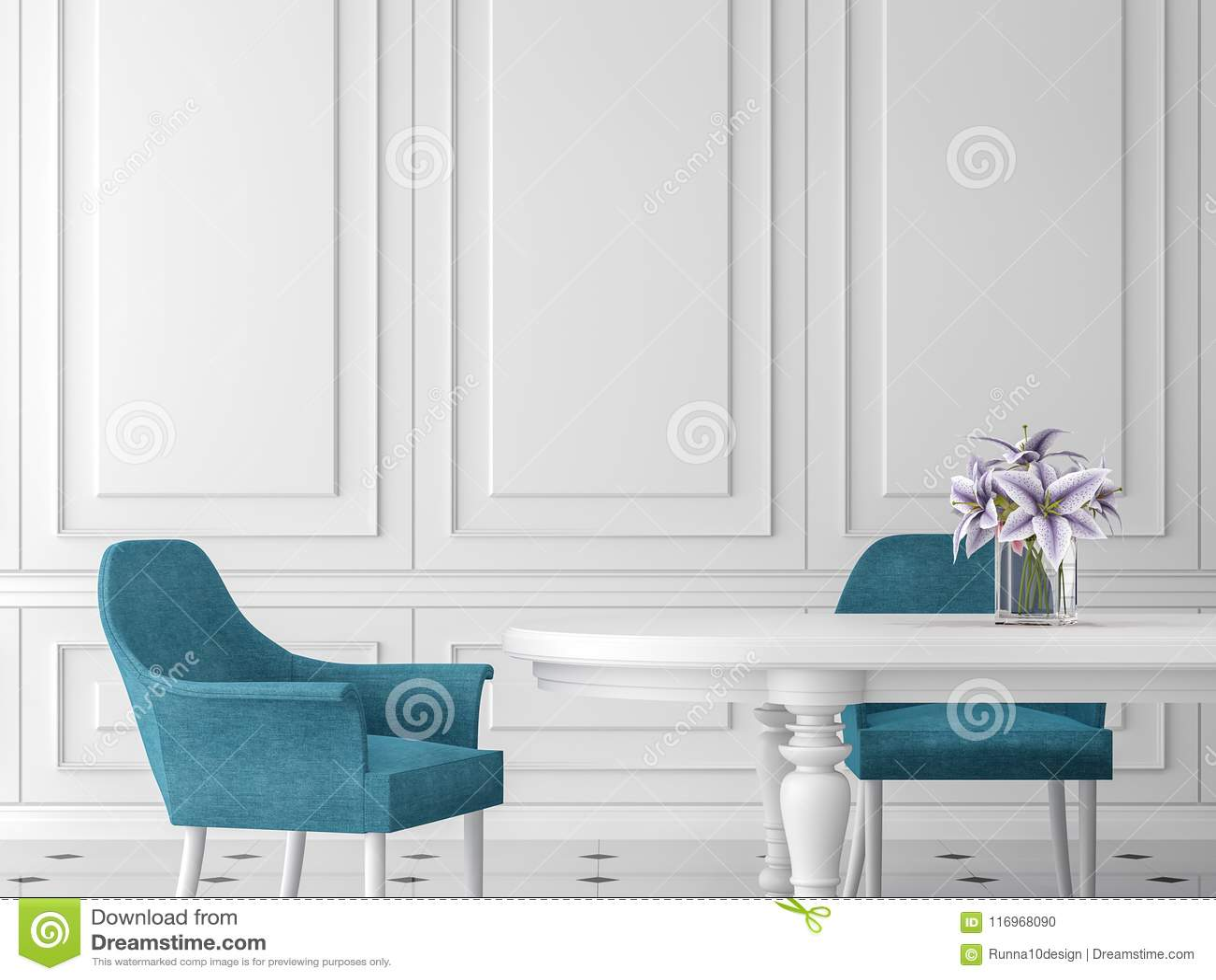 La Salle A Manger Classique Moderne 3d Rendent Meuble Avec La Table