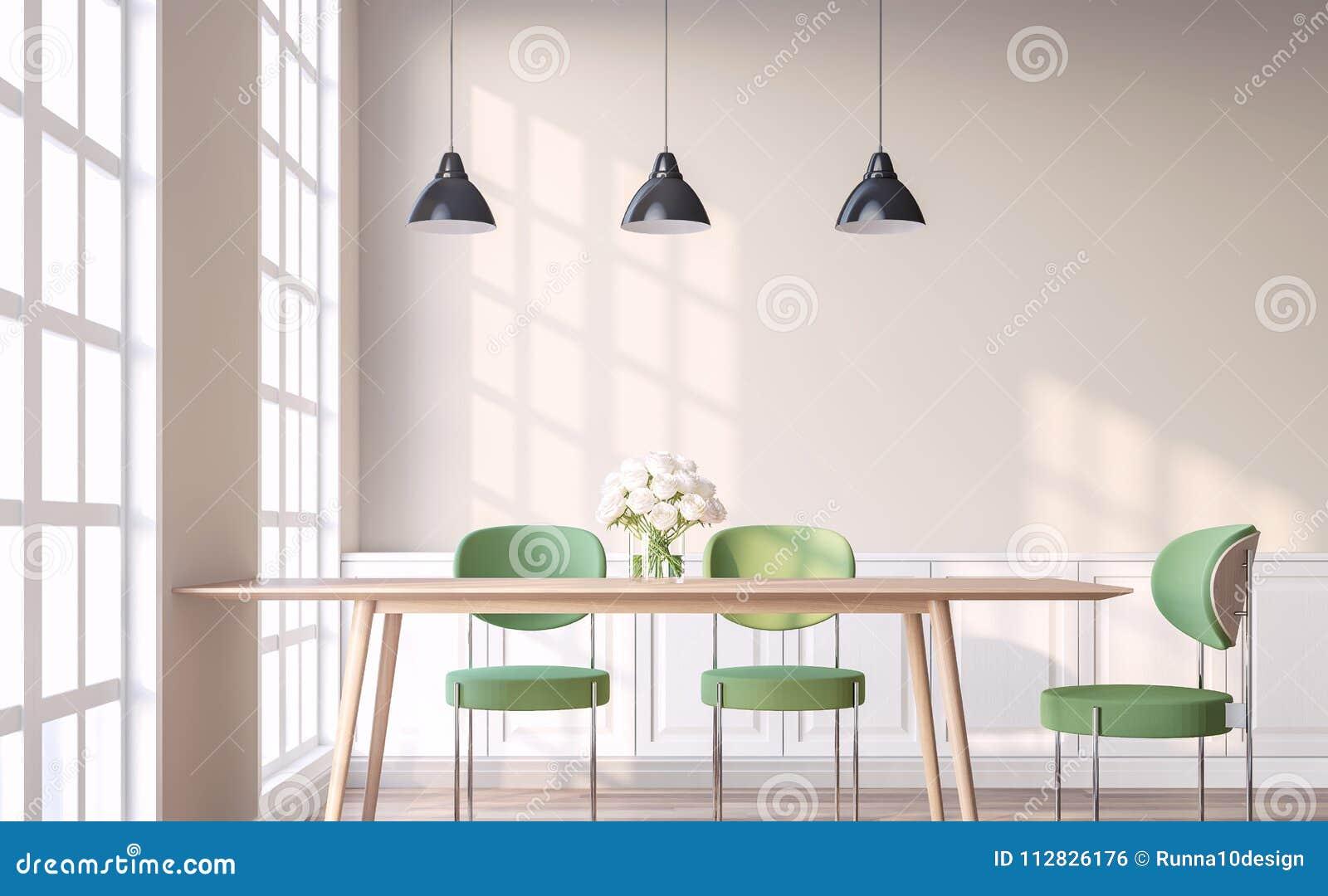 La Salle A Manger De Style De Vintage Avec La Chaise Verte 3d