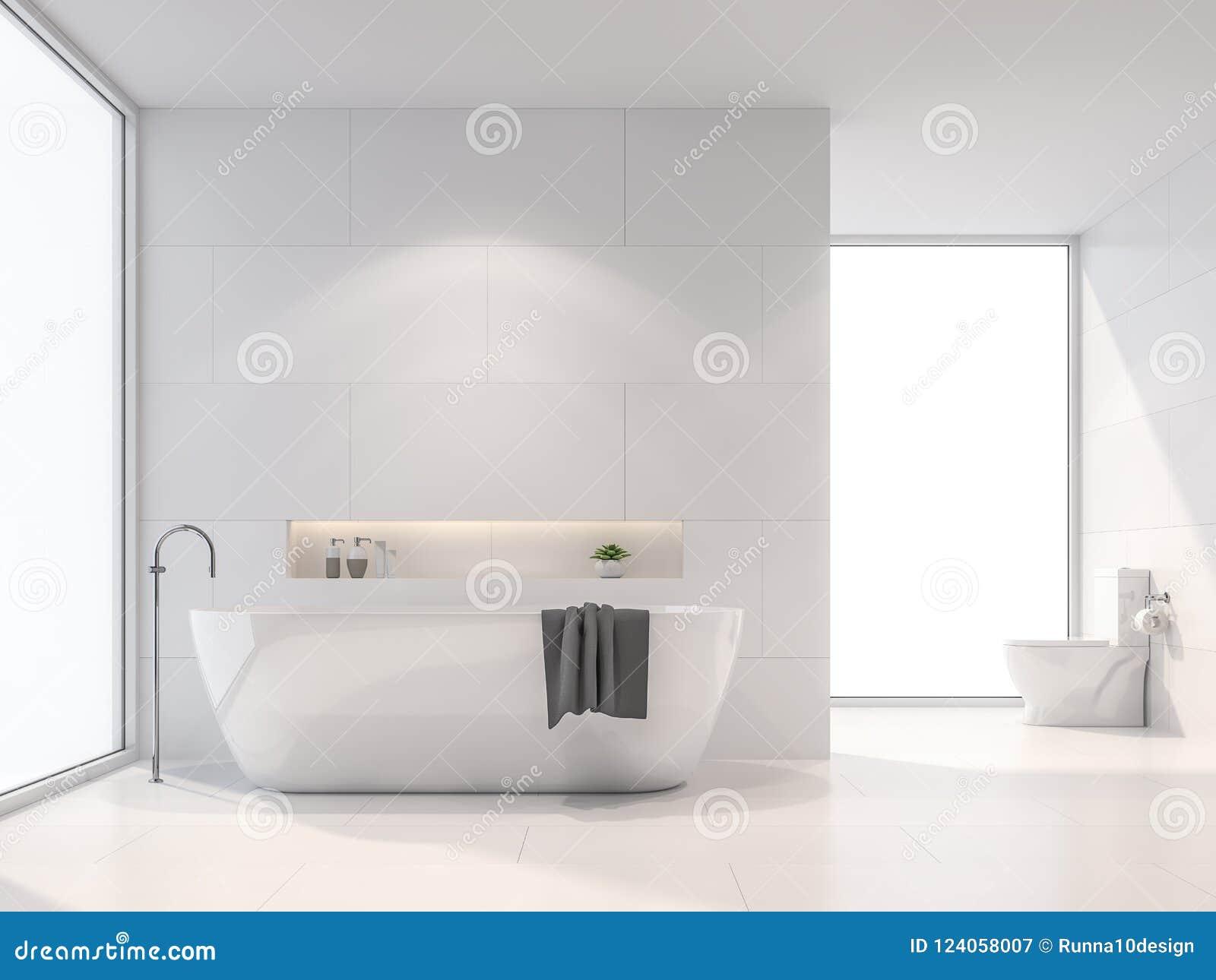 Lumières De Salle De Bains la salle de bains blanche moderne 3d rendent la lumière du