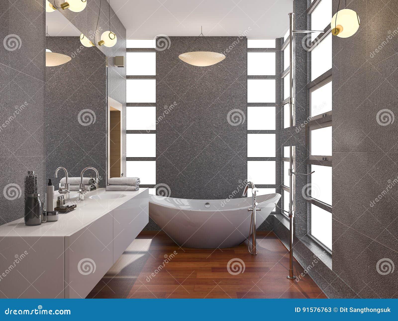 La Salle De Bains Moderne En Bois Du Rendu 3d Avec La Fenêtre Et La ...