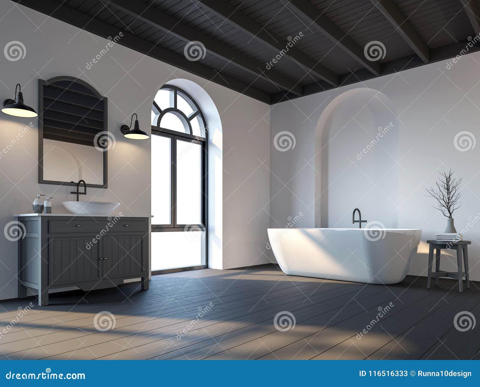 La Salle De Bains Scandinave Avec Le Plancher En Bois Noir 3d ...