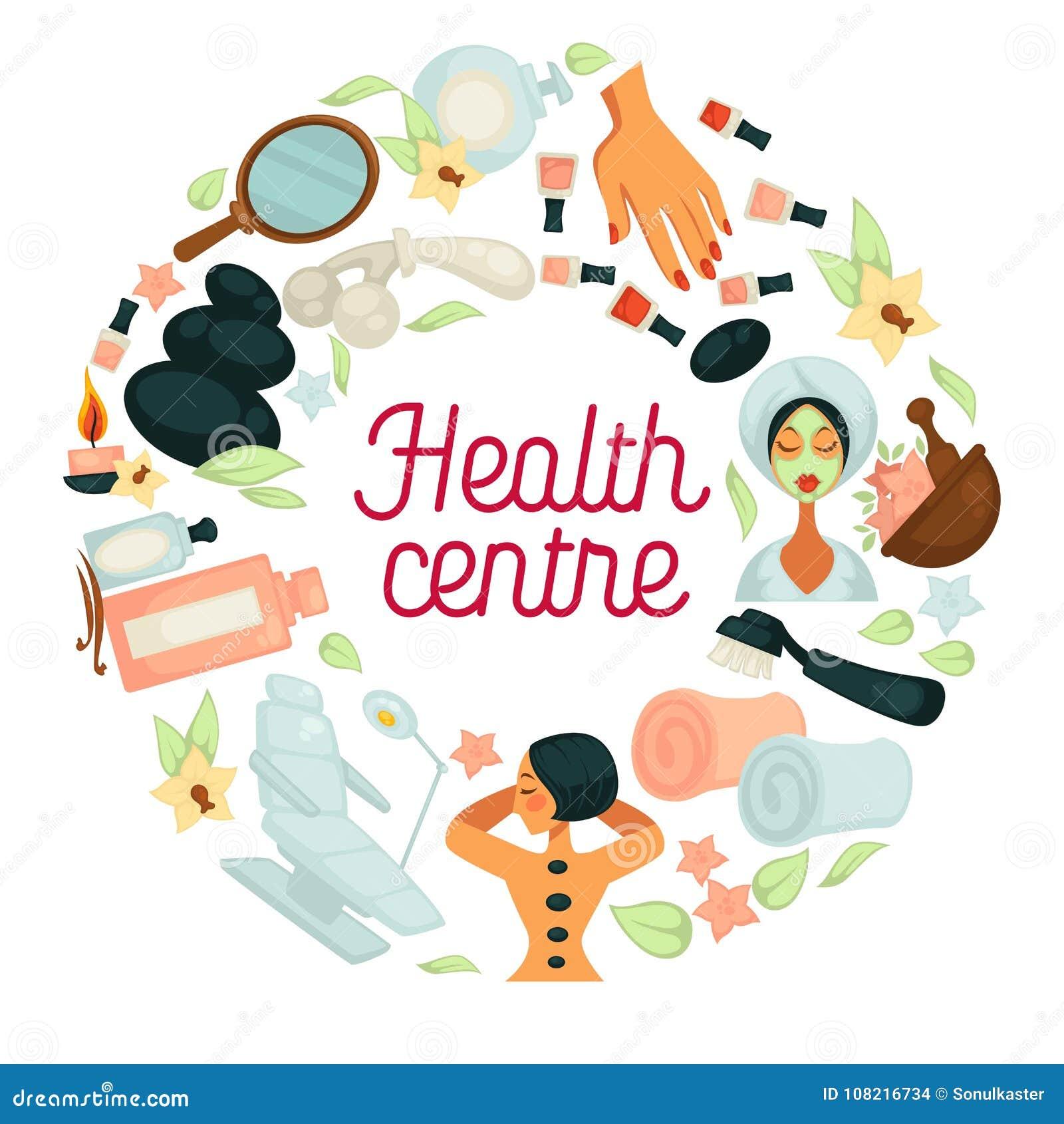 La salud y el cartel del centro del salón del BALNEARIO para el cuerpo se relajan y el tratamiento del skincare de la mujer