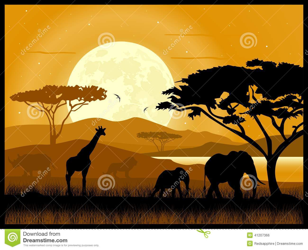 La savane africaine illustration de vecteur image du - Savane dessin ...
