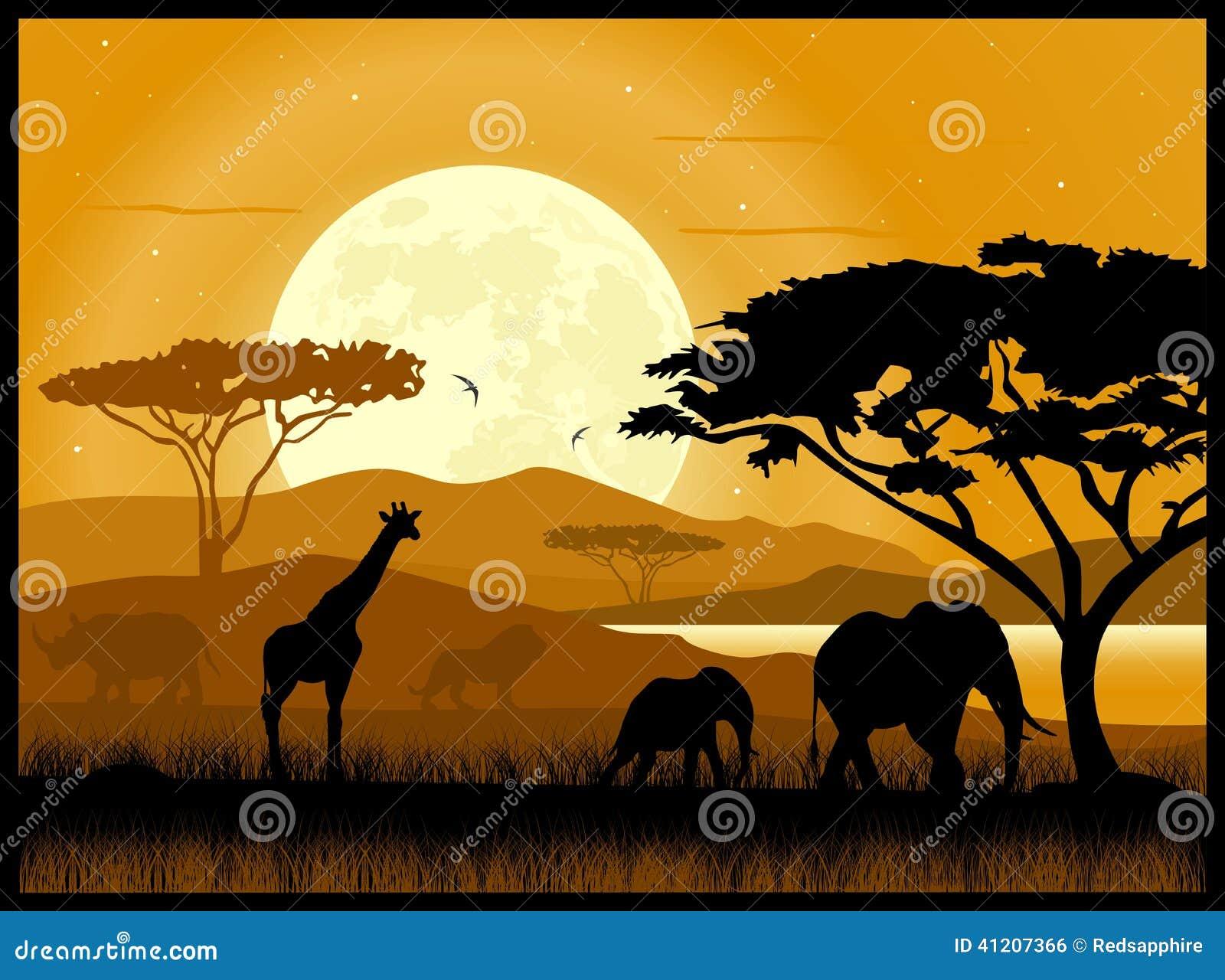 La savane africaine illustration de vecteur image 41207366 - Animaux savane africaine ...