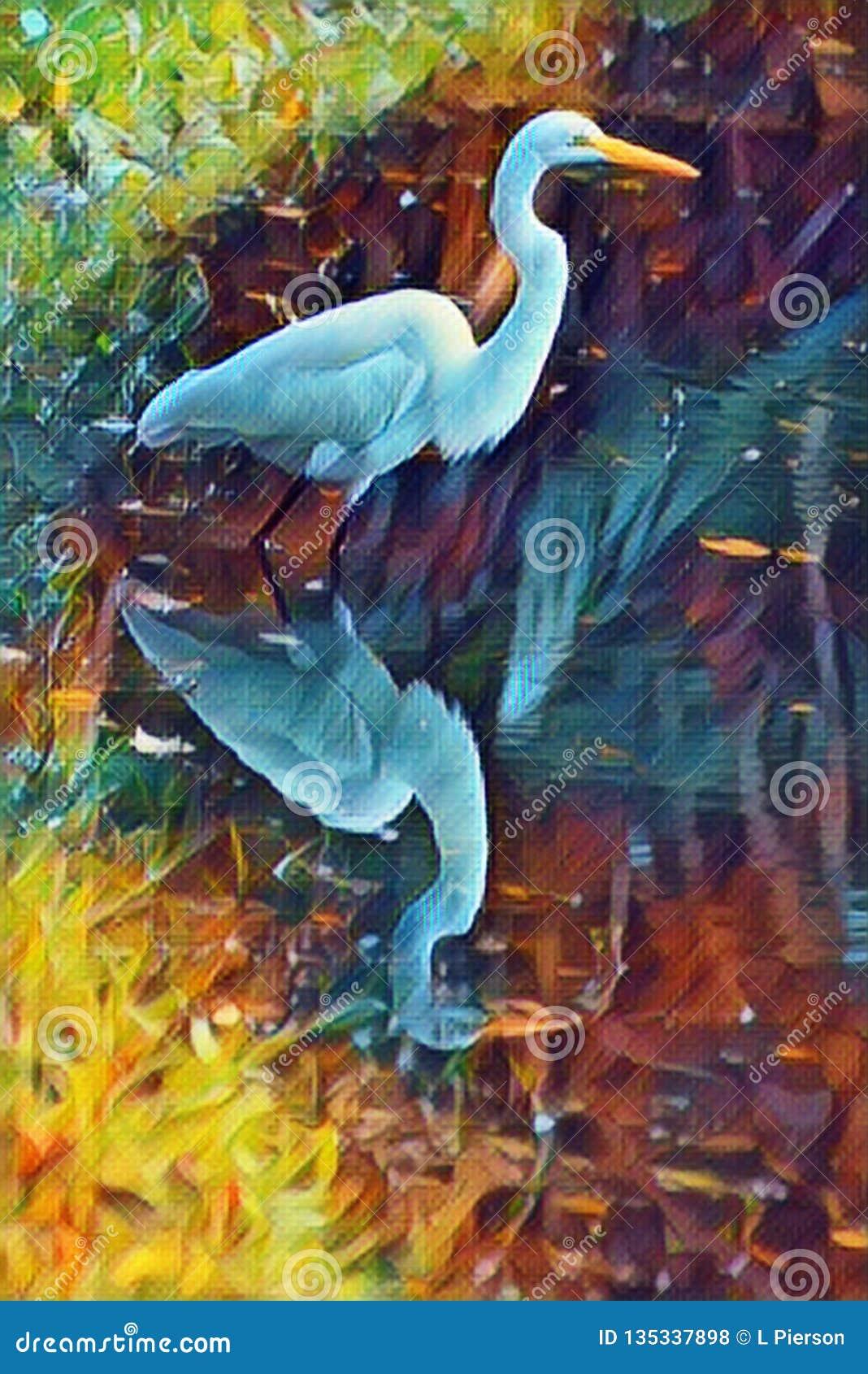 La scena astratta dell egretta visualizza la bella riflessione di uno stagno dell ancora acqua mentre la nostra egretta cerca la