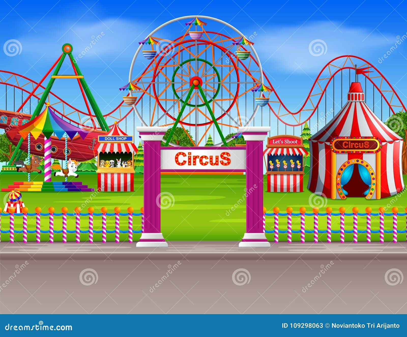 La scena del parco di divertimenti al giorno con molti guida