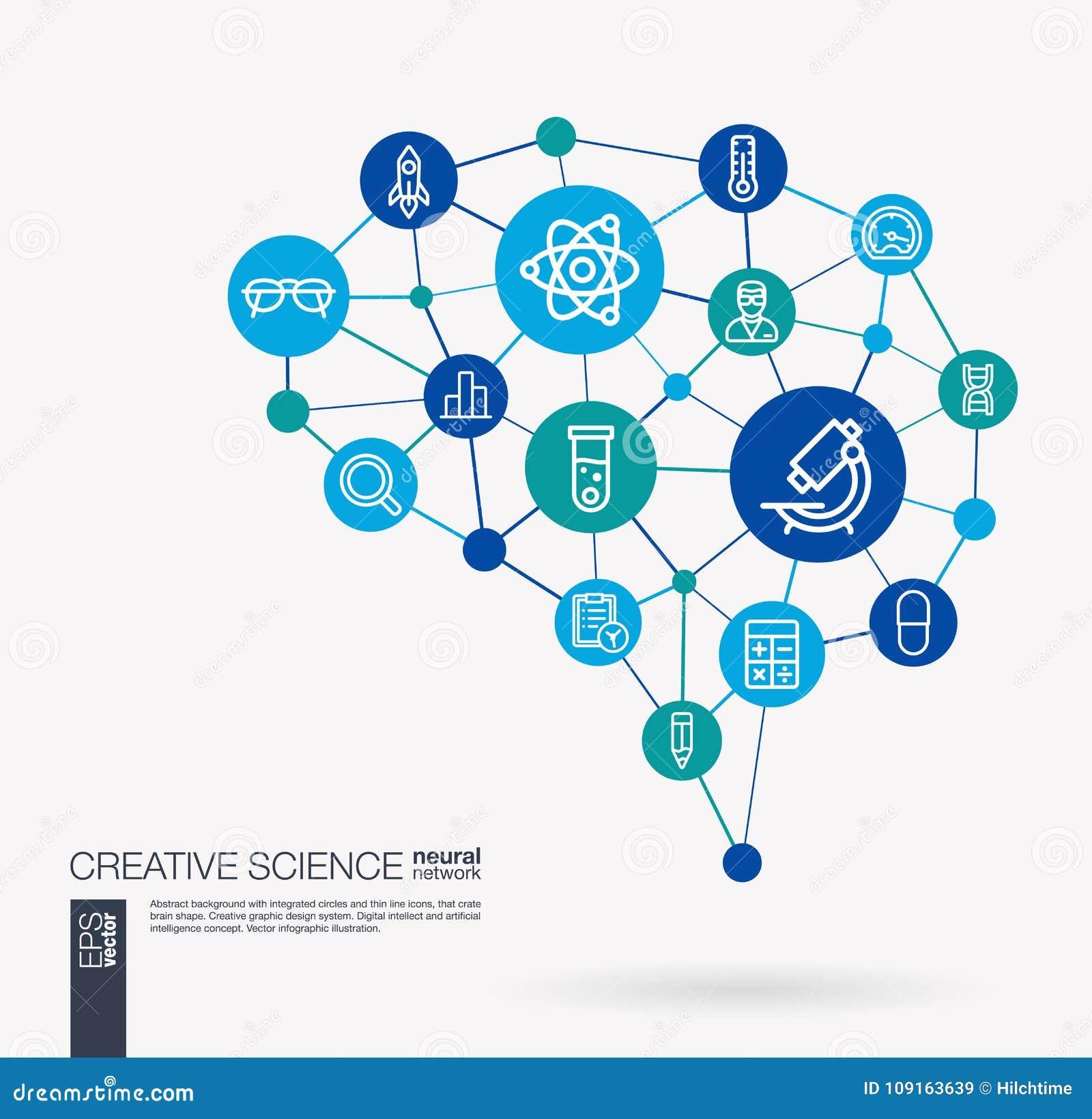 La Science, essai en laboratoire, recherche, innovation a intégré des icônes de vecteur d affaires Idée futée de cerveau de maill