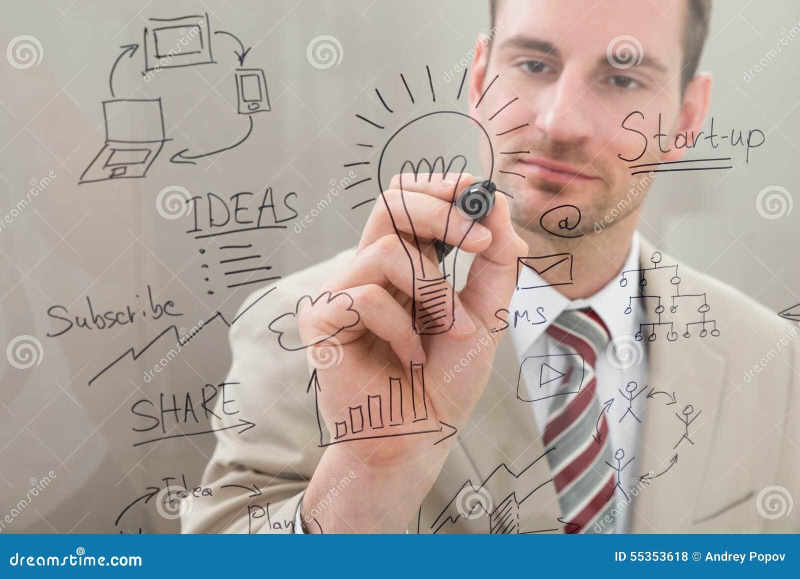 La scrittura dell uomo d affari comincia su progettare