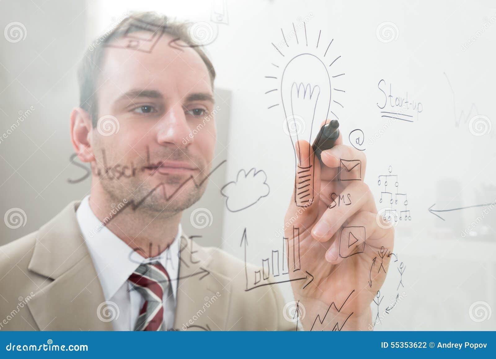 La scrittura dell uomo d affari inizia sul piano