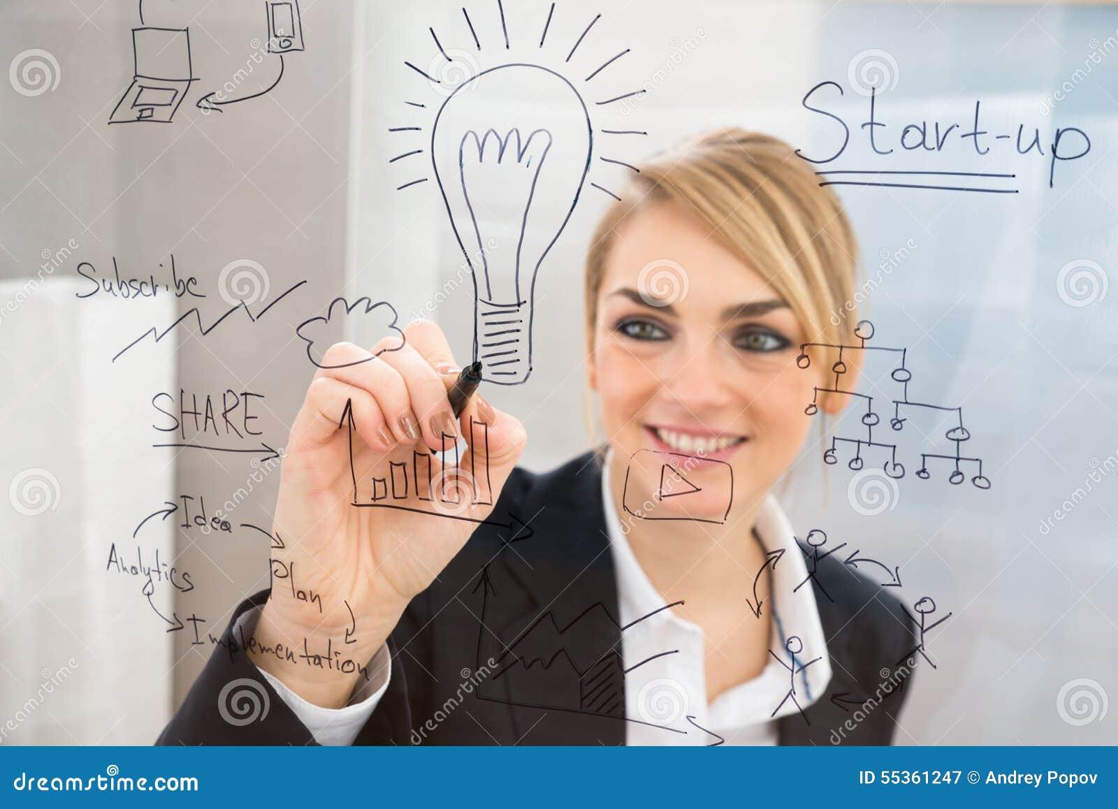 La scrittura della donna di affari inizia sul piano sullo schermo di vetro