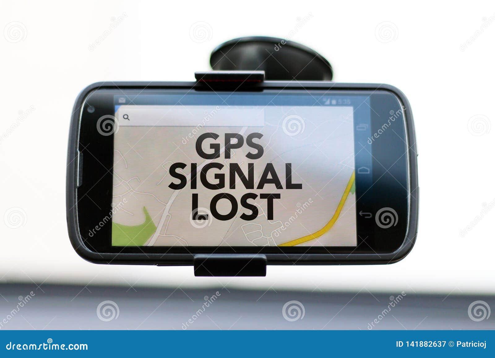 La señal de GPS perdió el tipo en un teléfono elegante de GPS