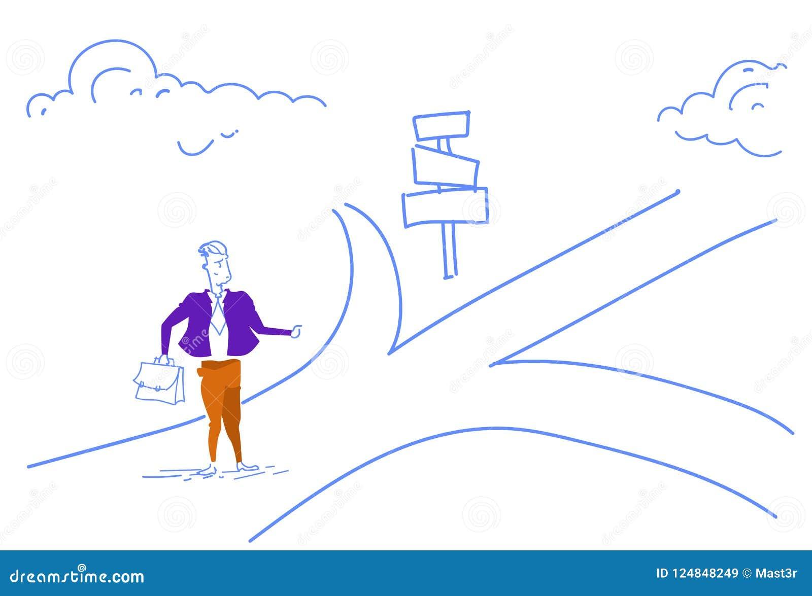 La señal de tráfico derecha del hombre de negocios confuso elige el garabato del bosquejo de la flecha del letrero de la manera d