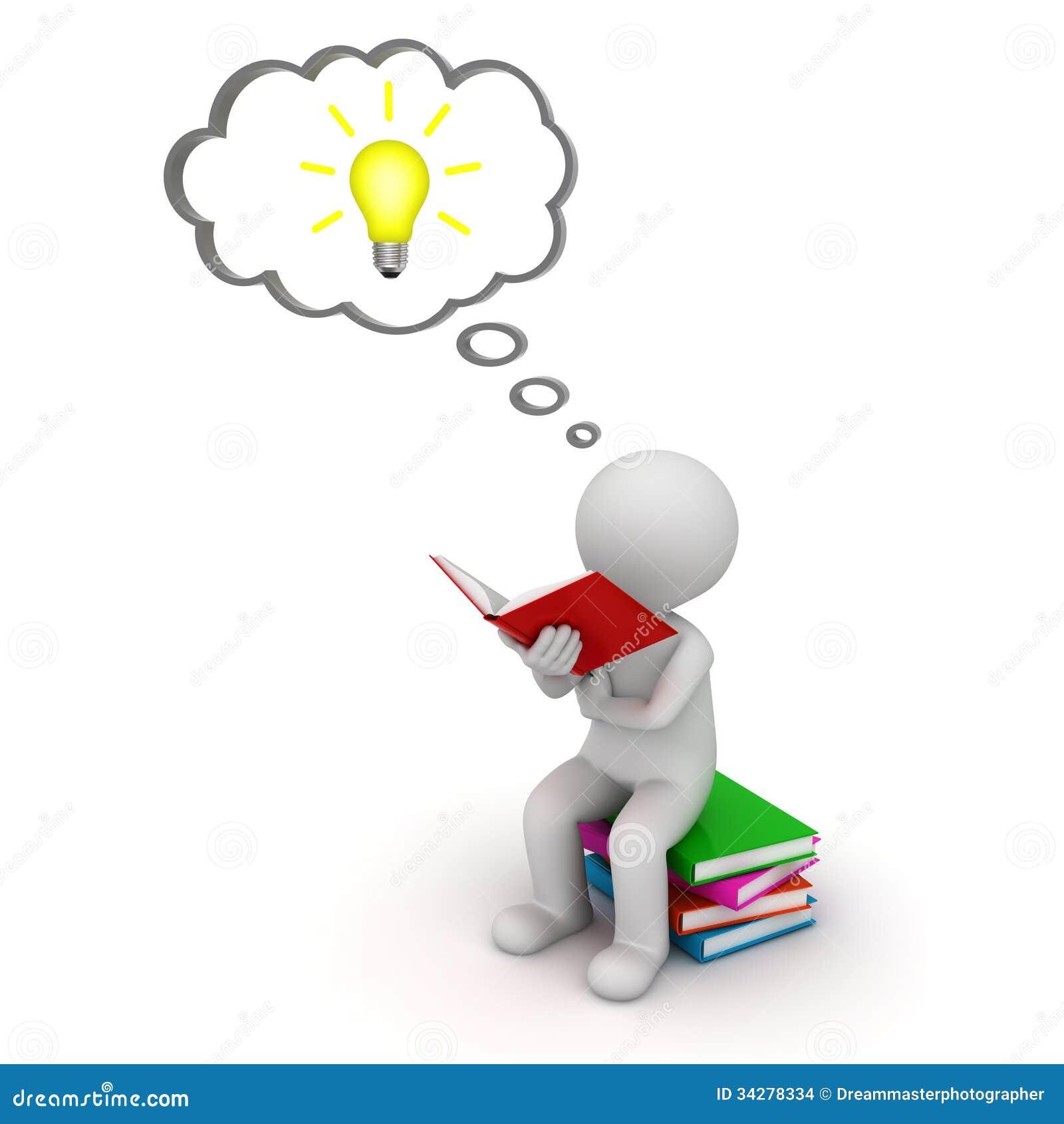 La seduta e la lettura dell uomo 3d un libro con la lampadina di idea ...