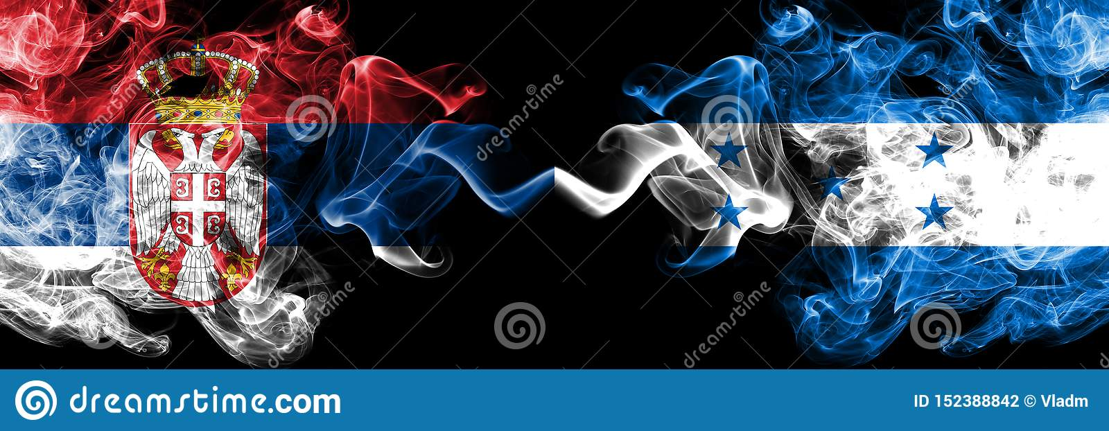 La Serbie contre le Honduras, drapeaux mystiques fumeux honduriens placés côte à côte Épais coloré soyeux fume la combinaison de