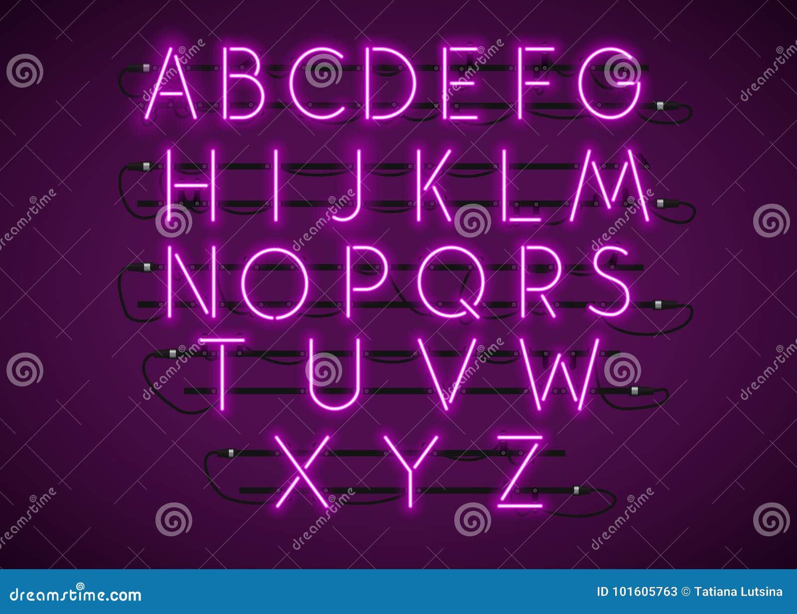 La serie di caratteri al neon porpora ha messo su fondo porpora