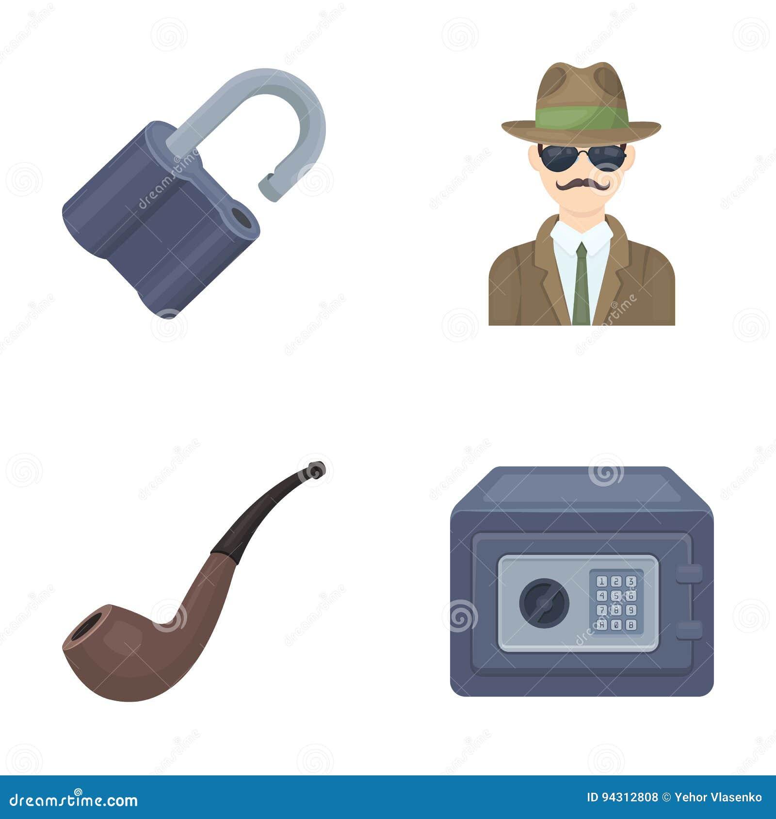 La serrure a entaillé, coffre-fort, tuyau de tabagisme, détective privé Les icônes réglées de collection de détective dans le sty