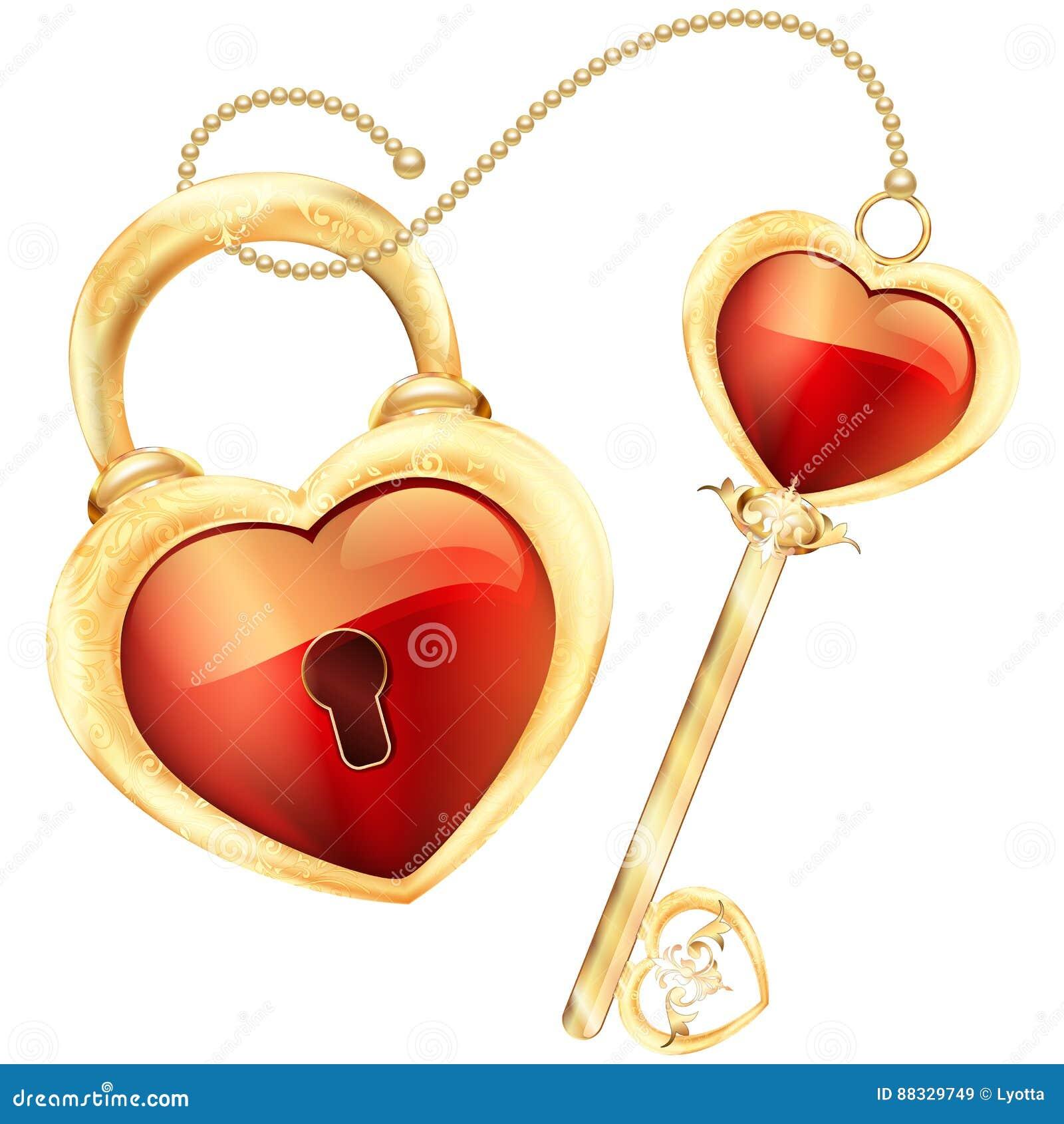 La serrure et la clé au coeur rouge forment dans le cadre d or et l illustration d ornement