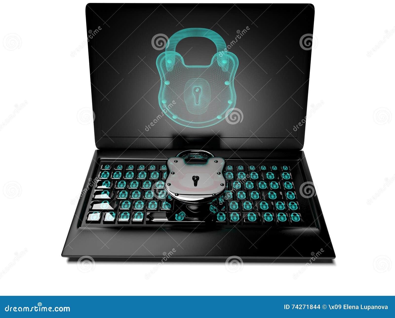 La serrure virtuelle au clavier numérique, le concept 3d de protection des données rendent
