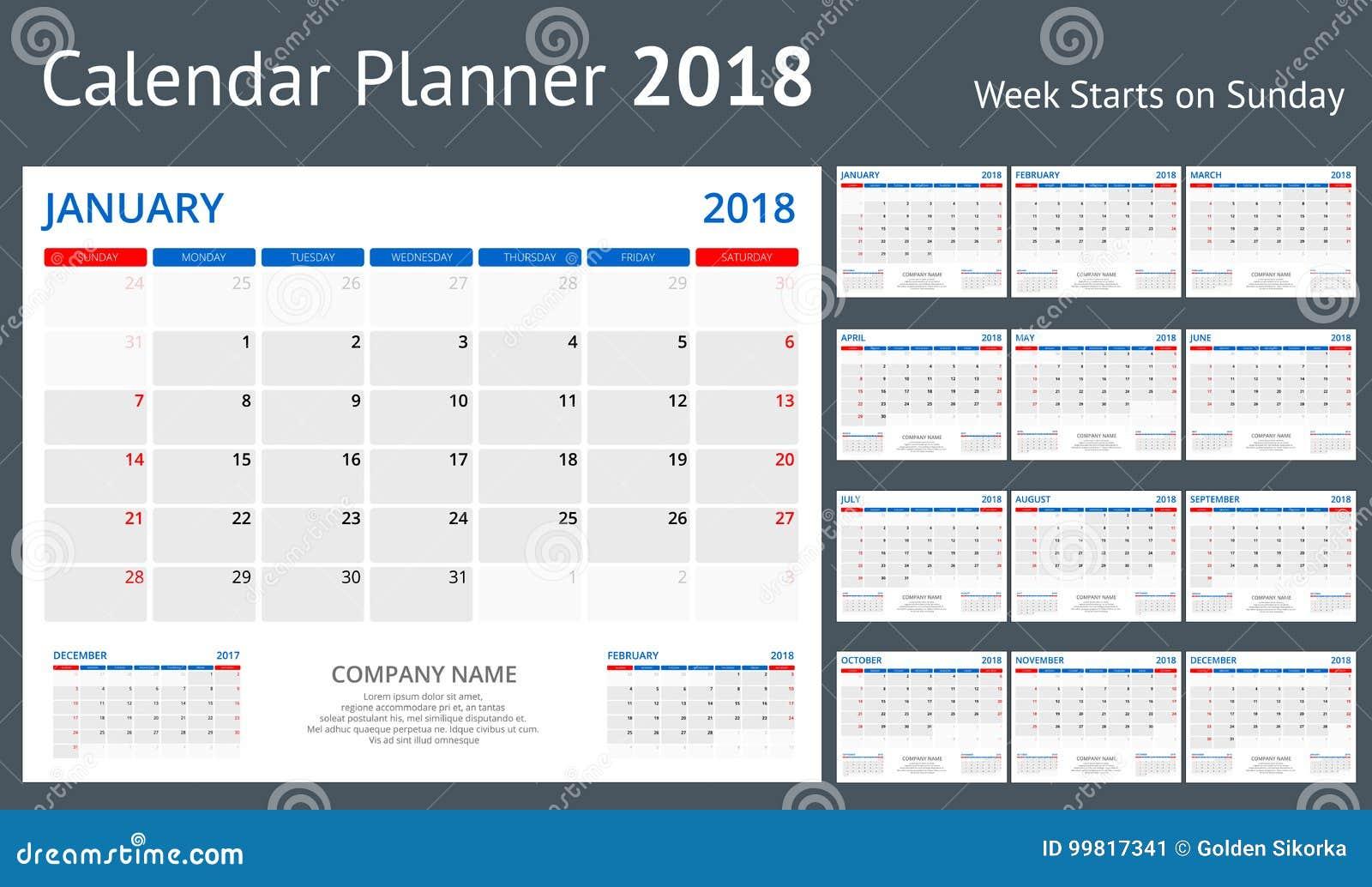 La settimana del modello della stampa di 2018 calendari inizia un insieme di orientamento del ritratto di domenica di 12 mesi di