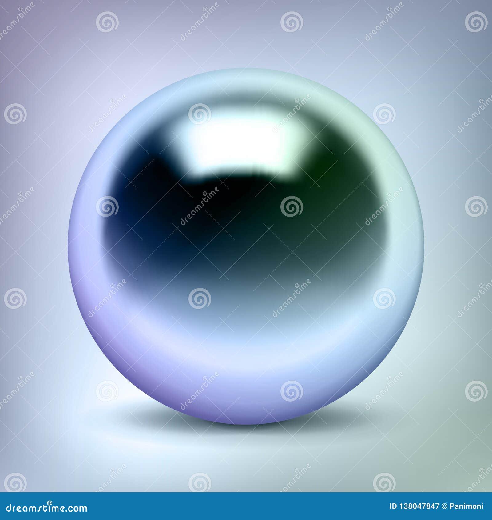 La sfera del cromo di vettore, la palla di metallo lucida, colore della perla, circonda l oggetto d argento per voi progettazione