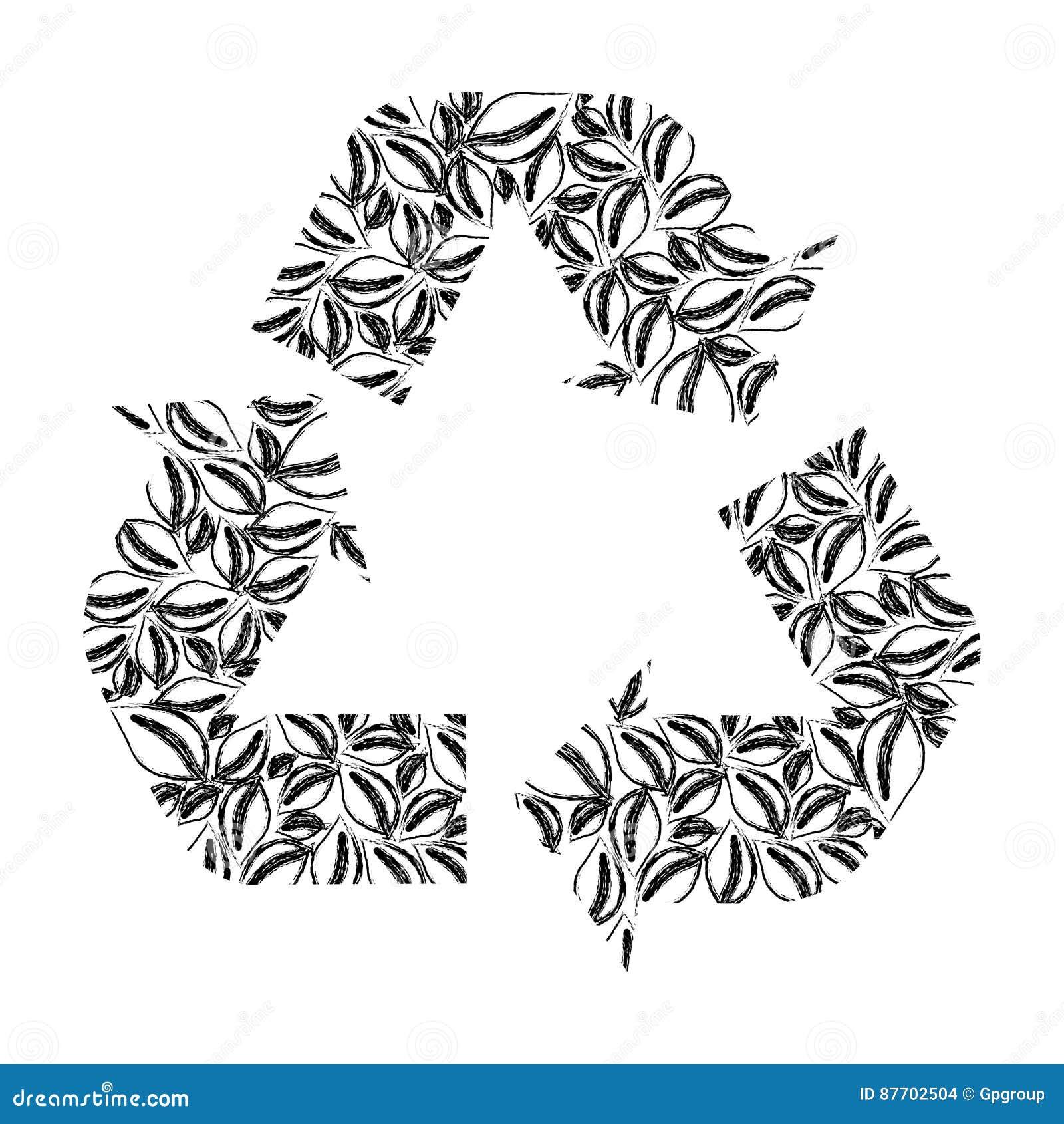 La silhouette a brouillé réutiliser la forme de flèche de symbole avec des feuilles