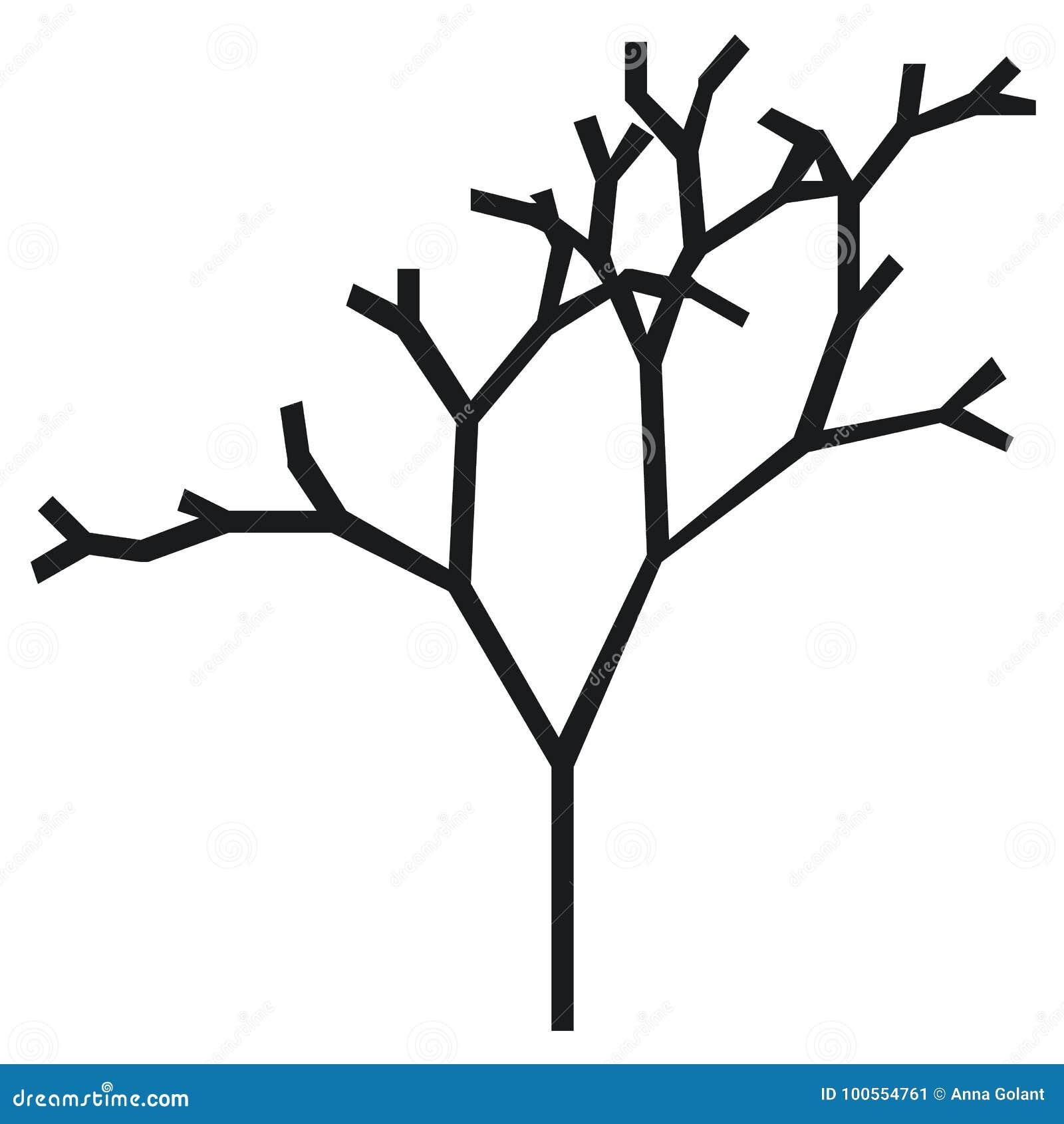La Silhouette D Un Arbre Avec Un Tronc Et Des Branches Sans Feuilles Icone Noire Et Blanche De Vecteur Illustration De Vecteur Illustration Du Icone Arbre 100554761